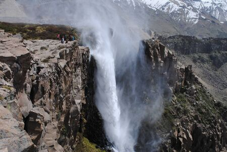 Reverse waterfall at a national park in Chile Stockfoto