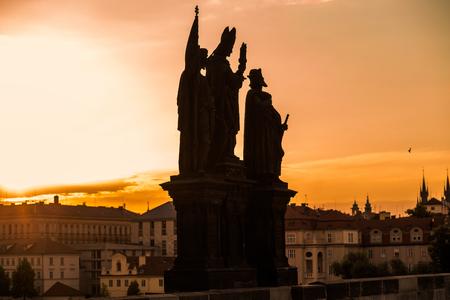 sunrise landscape silhouette at charles bridge in prague Editorial