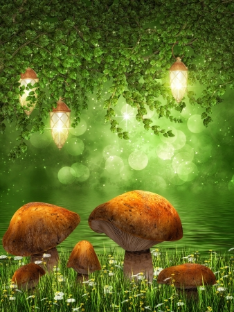 Beautiful background with mushrooms in a clearing beneath the branches with lights Stock Photo