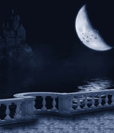 fantasy castle: Fantasy background with a dark night, the moon and the castle balcony