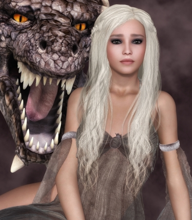 fantasy dragon: Beautiful girl with long white hair and a dragons head from behind