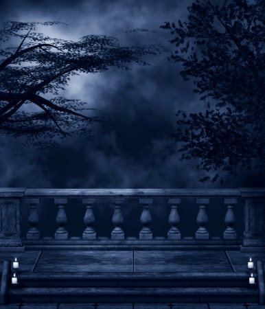 balustrade: Fantasy background with dark night, trees, balconies and candles