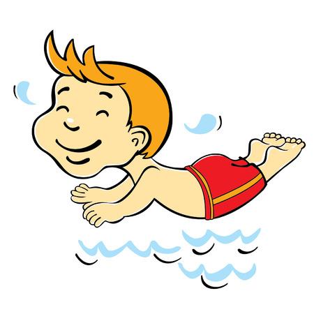 ダイビングの少年  イラスト・ベクター素材