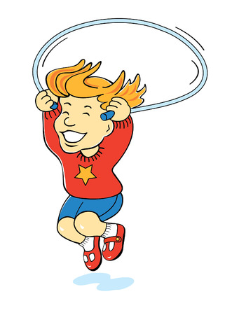 cartoon of girl jumping rope Illustration