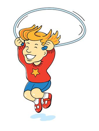 cartoon of girl jumping rope Ilustracja
