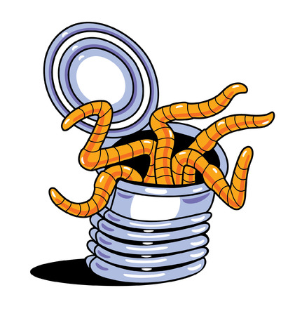 cartoon of can of worms Vector
