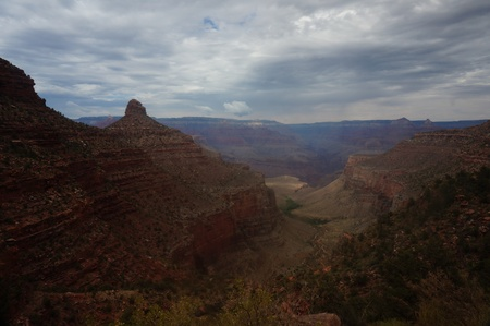 south kaibab trail: Grand Canyon from Bright Angel Trail near Three Mile Resthouse Stock Photo