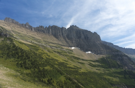 divide: Contenintal Divide in Glacier National Park from Highline Loop Trail Stock Photo