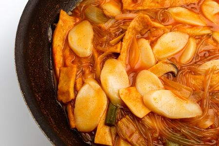 Popular food in Korea. Spicy korean food. Dishes with vegetables and rice cakes