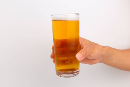 Alcoholic drinks made from barley. Yellow drink. Carbonated drinks Stock Photo