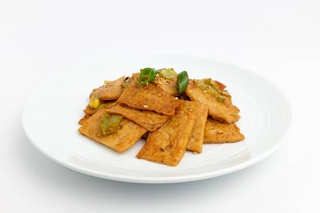 Vegetables and fish paste. Fish paste with seasoning. Spicy and salty food
