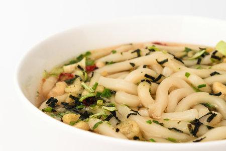 Japanese noodles cuisine. instant food. Light meal. Noodles that taste like katsuobushi