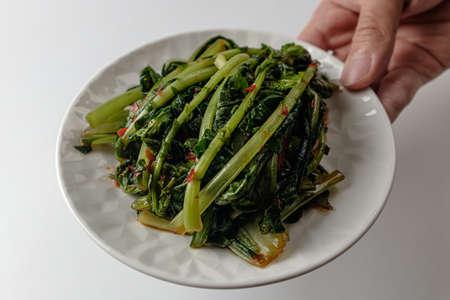 Spicy vegetarian food. Korean kimchi culture. green vegetables Stock Photo