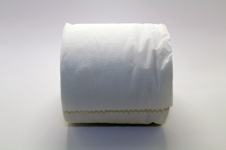 A roll of toilet paper or tissue (British). Taken with white background. Imagens