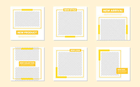 Slides Abstract Unique Editable Modern Social Media Banner Yellow Template. For personal & business.Anyone can use this design easily.Promotional web banner social media post feed. Vector Illustration 向量圖像
