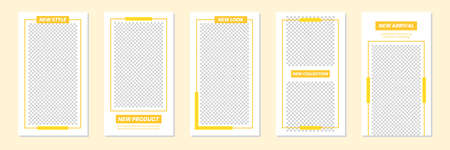Set of rectangle editable minimal layout social media stories template yellow color for personal or business. Use this layout for web, banner, poster, shop, discount, sale, promotional product. 向量圖像