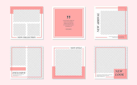 Slides Abstract Unique Editable Minimal Social Media Banner Pink Template. For personal & business.Anyone can use this design easily. Promotional web banner social media post feed. Vector Illustration
