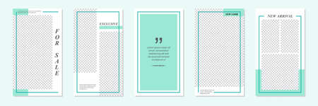 Set of rectangle editable minimal layout social media stories template turquoise green color for personal or business. Use this layout for web, banner, poster, discount, sale, promotional product.