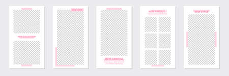 Set of rectangle editable minimal layout social media stories template pastel pink color for personal or business. Use this layout for web, banner, poster, shop, discount, sale, promotional product.