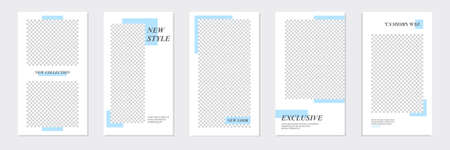 Set of rectangle editable minimal layout social media stories template pastel blue color for personal or business. Use this layout for web, banner, poster, shop, discount, sale, promotional product.
