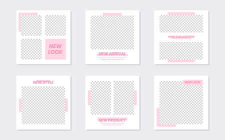 Slides Abstract Unique Editable Minimal Social Media Banner Pastel Pink Template. For personal & business. Anyone can use this design easily. Promotional web banner social media. Vector Illustration