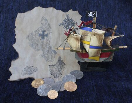 maltese map: Small wooden ship with treasure and map