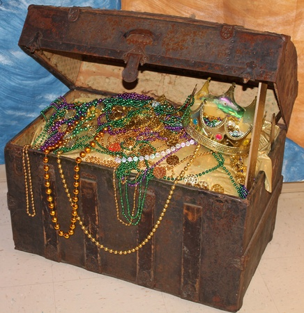 Metal Chest filled with Beads photo