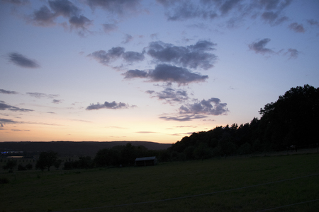 Sunset in the forest of the Odenwald in the state of Hesse