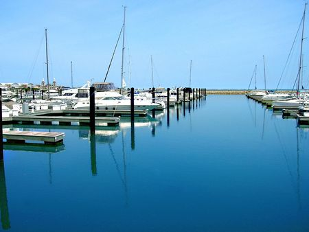 ports: Belmont Harbor in Chicago, Illinois Stock Photo