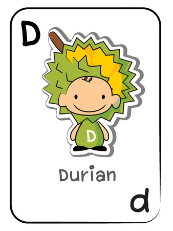 D for Durian alphabet flashcard vector illustration on white background.