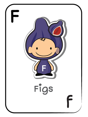 F for Figs alphabet flashcard, vector illustration on white background.