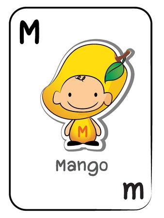 M for Mango fruit flashcard