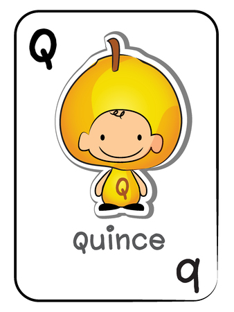 Fruit flashcards: Q for Quince, vector illustration on white background.