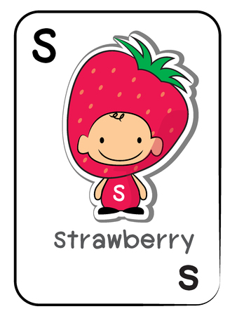 Strawberry fruit flashcard of letter S, vector illustration on white background.
