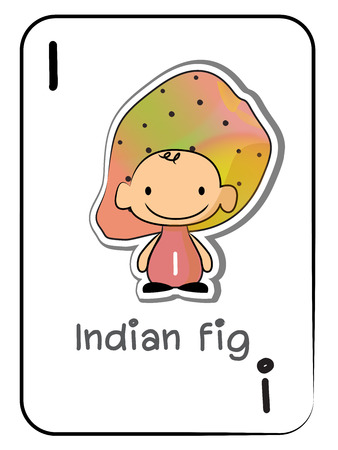 Letter I for Indian fig: ABC fruit and vegetable flashcards