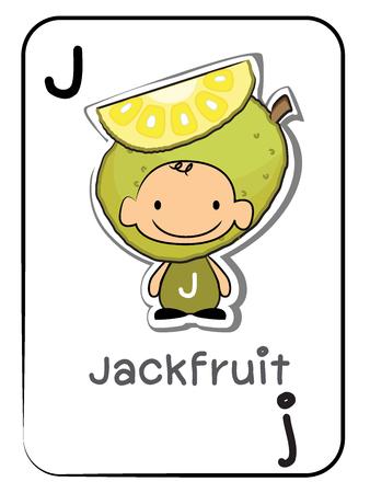 Flashcard for preschool children: letter J for Jackfruit