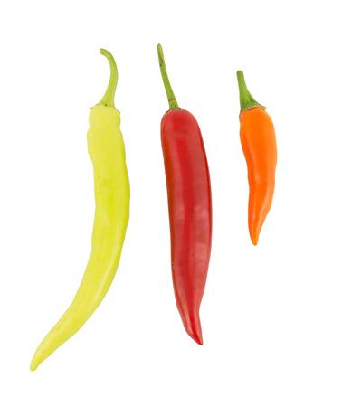 banane: piment sur fond blanc Banana Pepper, Paprika, Pepper Garden, Chili usine, le poivron rouge, le poivre espagnol, poivron Banque d'images