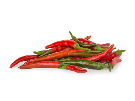 spur: Cayenne pepper chili   long fed pepper, spur pepper  on white background