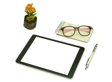 palmtop computer: Black tablet ,pencil , glasses and note book  for template isolated