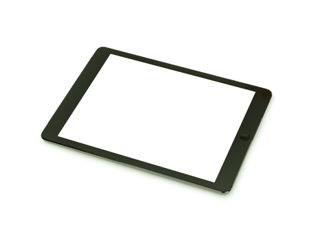 blank tablet: Black tablet with blank screen for template isolated Stock Photo