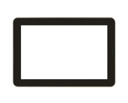 illus: Black tablet with blank screen for template isolated Stock Photo