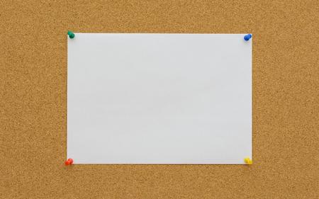 paper board: White paper on cork board