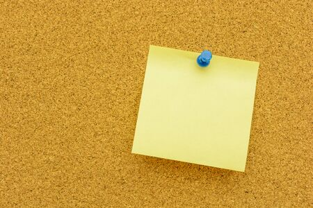 paper pin: Note paper with blue  pin on the cork board