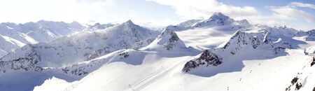 Panorama Wildspitze Solden ski area Stock Photo