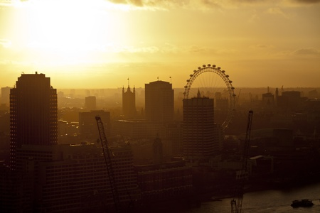 London skyline at sunset photo
