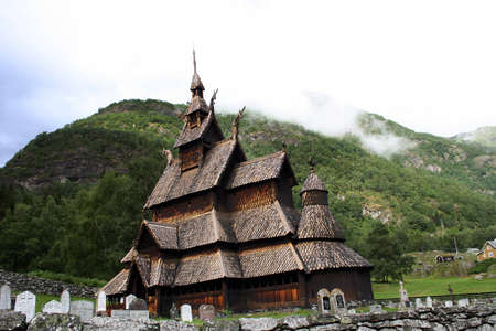 Picturesque landscape with the Borgund stave church in Norway Stock Photo