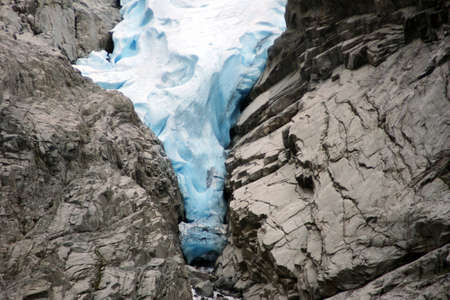 Melkevollbreen Glacier, Jostedalsbreen National Park, near Brigsdal, Norway Stock Photo