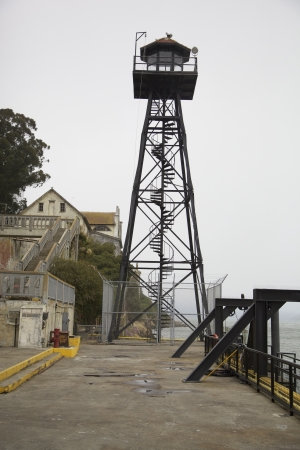 Guard tower on Alcatraz Island, California  Stock Photo