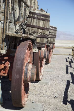 haul: Wooden wagon used to haul borax ore on display in Death Valley National Park Stock Photo