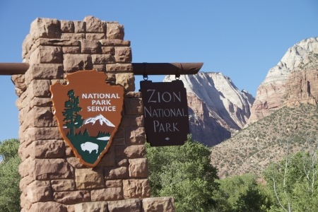 Zion National Park Entrance Sign Editorial